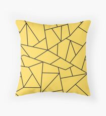 Mustard Yellow Black Mosaic Lines Throw Pillow