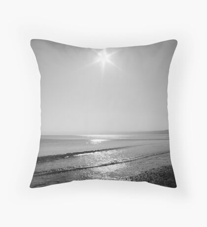 Black and white sunrise Throw Pillow