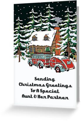 Aunt & Her Partner Sending Christmas Greetings Card by Gear4Gearheads