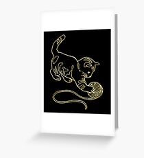 Gold Foil Cat Playing with Yarn Design Greeting Card