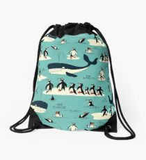 Whales, Penguins and other friends Drawstring Bag