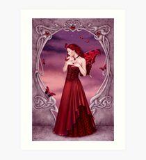 Garnet Birthstone Fairy Art Print