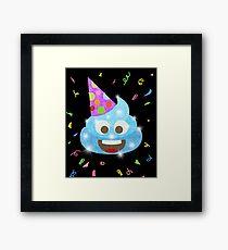 Blue Poop Funny Kids Emoji Birthday Party Framed Print