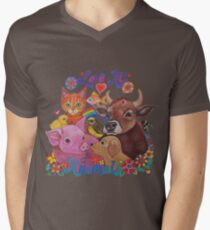 Liebe alle Tiere T-Shirt mit V-Ausschnitt für Männer