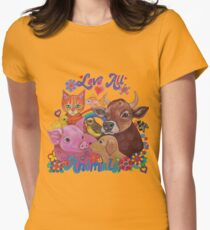 Love all Animals  Womens Fitted T-Shirt