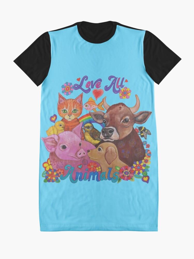 Vista alternativa de Vestido camiseta Amo a todos los animales