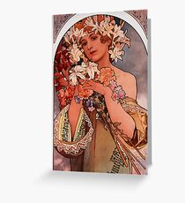 'Flowers' by Alphonse Mucha (Reproduction) Greeting Card