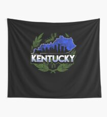 Kentucky Map Buildings Graphic Design Wall Tapestry