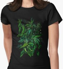 """Green & Black"", summer greenery, floral art, pastel drawing Womens Fitted T-Shirt"