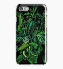 """Green & Black"", summer greenery, floral art, pastel drawing iPhone Case/Skin"