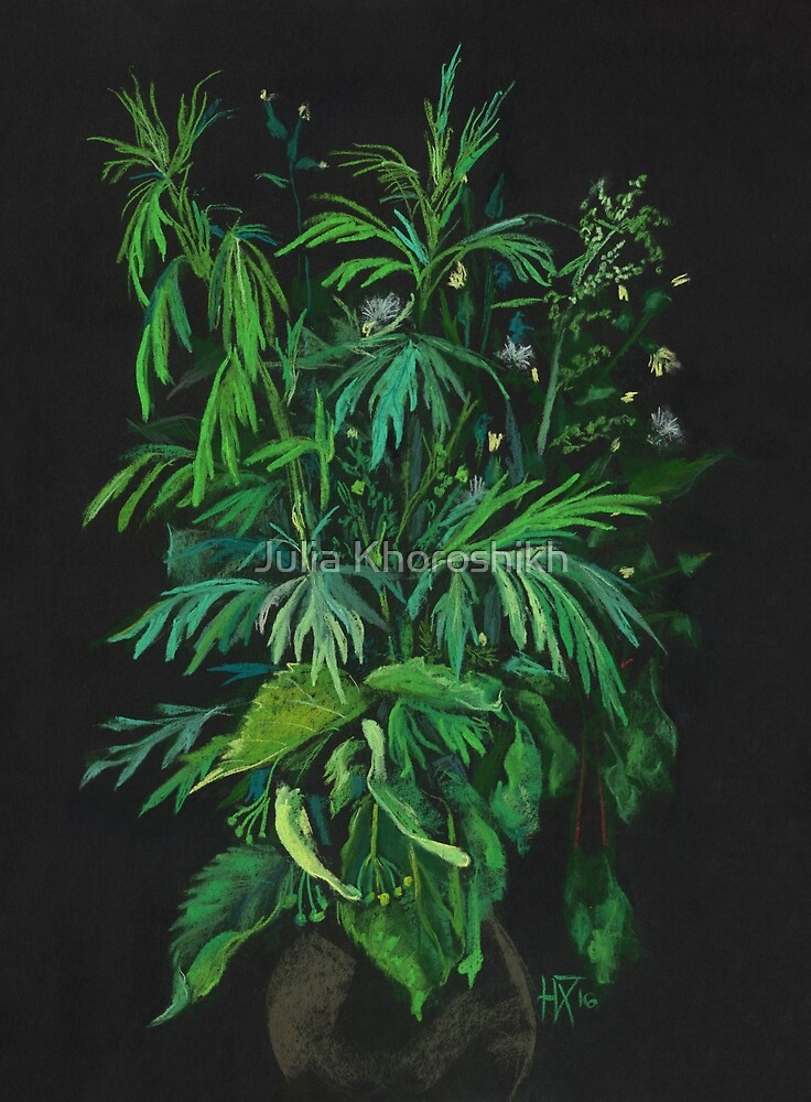 """Green & Black"", summer greenery, floral art, pastel drawing by clipsocallipso"
