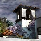 Wisteria on a Spanish Tower by Wayne King