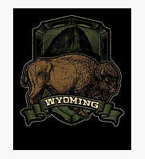Wyoming Cow Vintage Retro Graphic Photographic Print