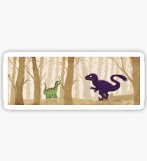 Sauropod & Raptor in forest Sticker