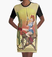 Yeehaw Classic Cowgirl Pin Up Graphic T-Shirt Dress