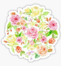 Bouquet of PINK & YELLOW rose - wreath Sticker