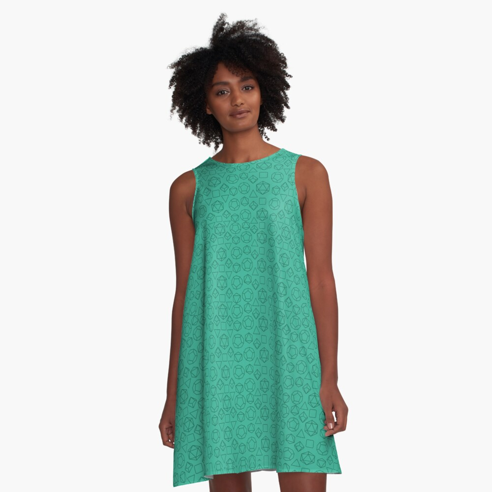 Green Dice - Pattern! A-Line Dress Front