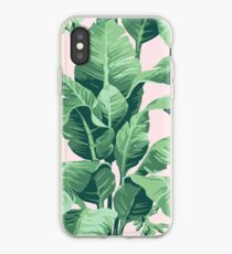 Beverly Hills Palm Leaf Banana Print Pink iPhone Case