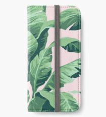 Vinilo o funda para iPhone Beverly Hills hoja de palma plátano rosa Print