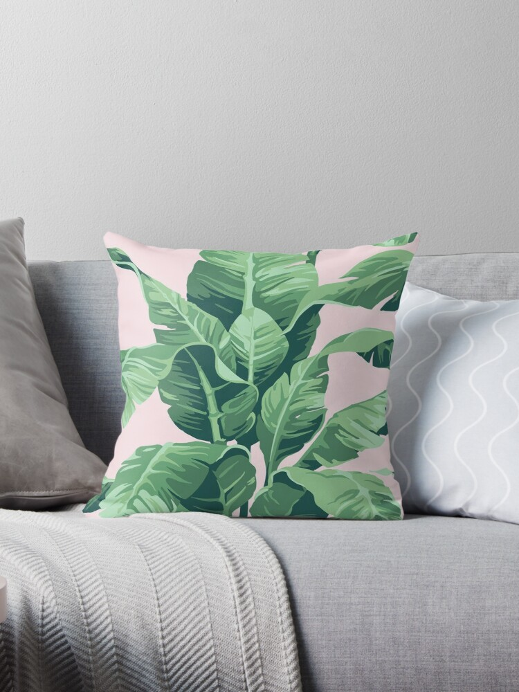 Magnificent Beverly Hills Palm Leaf Banana Print Pink Throw Pillow By Alexandralou Ocoug Best Dining Table And Chair Ideas Images Ocougorg