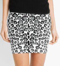 Cats Head Snow Leopard Print in Grey Mini Skirt