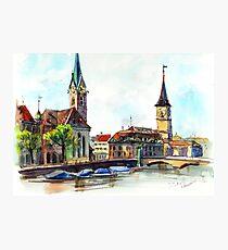 Zurich. Switzerland. Watercolor painting. Photographic Print