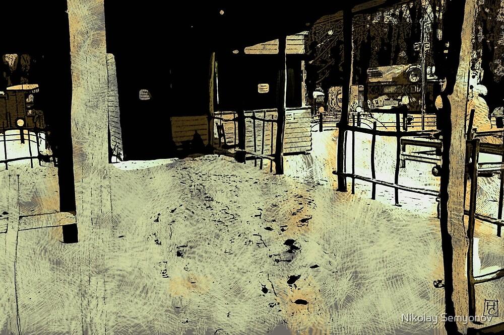cafe in the winter by Nikolay Semyonov
