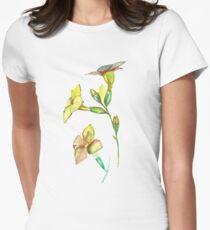 Watercolor  yellow flower. Botanical garden. Womens Fitted T-Shirt