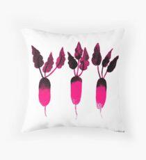 Pop art patterned radish Throw Pillow