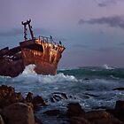 Shipwreck at Sunset by vividpeach