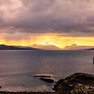 Cuillin Mountain Sunset from Gairloch Harbour by derekbeattie