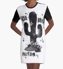 Free Hugs Anytime Funny Cactus Hug Inkblot Graphic T-Shirt Dress