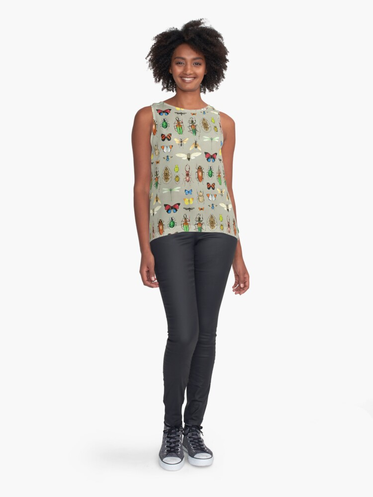 Alternate view of The Usual Suspects - Insects on grey - watercolour bugs pattern by Cecca Designs Sleeveless Top