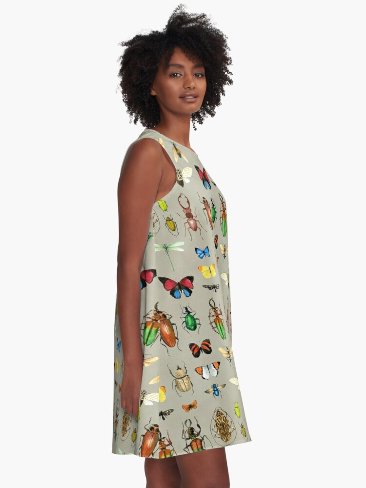 Alternate view of The Usual Suspects - Insects on grey - watercolour bugs pattern by Cecca Designs A-Line Dress