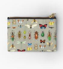 The Usual Suspects - Insects on grey - watercolour bugs pattern by Cecca Designs Studio Pouch