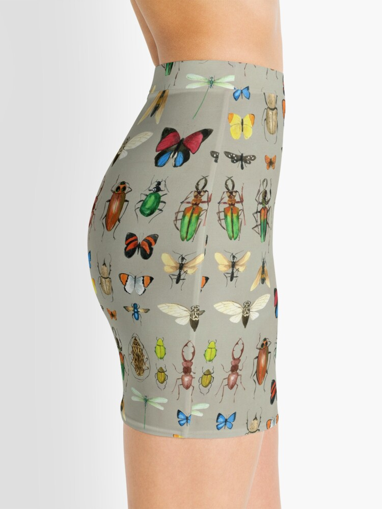 Alternate view of The Usual Suspects - Insects on grey - watercolour bugs pattern by Cecca Designs Mini Skirt