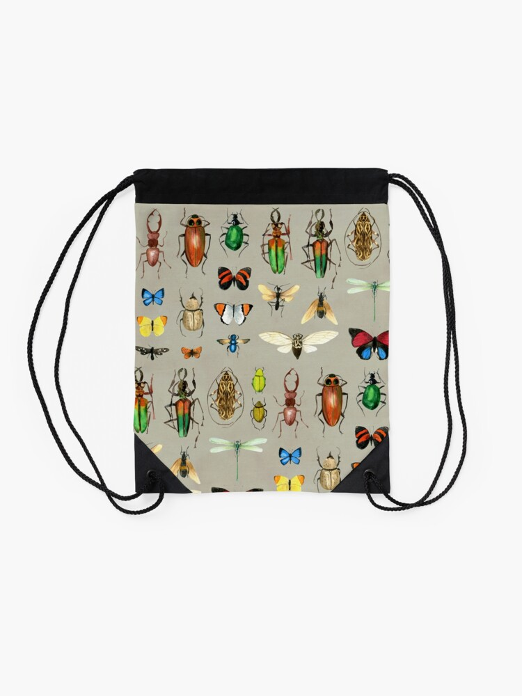 Alternate view of The Usual Suspects - Insects on grey - watercolour bugs pattern by Cecca Designs Drawstring Bag