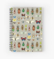 The Usual Suspects - Insects on grey - watercolour bugs pattern by Cecca Designs Spiral Notebook