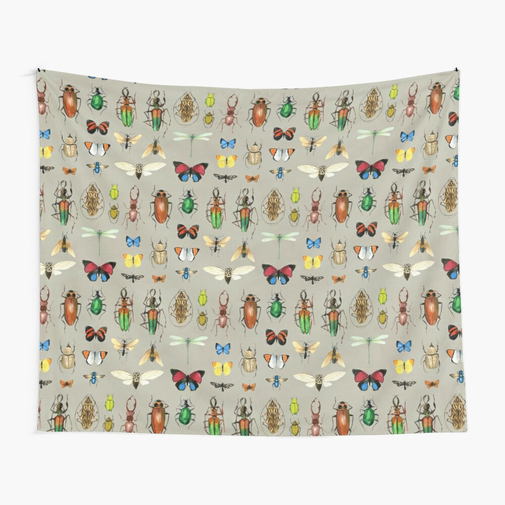 The Usual Suspects - Insects on grey - watercolour bugs pattern by Cecca Designs Wall Tapestry