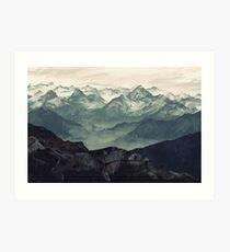 Berg Nebel Kunstdruck