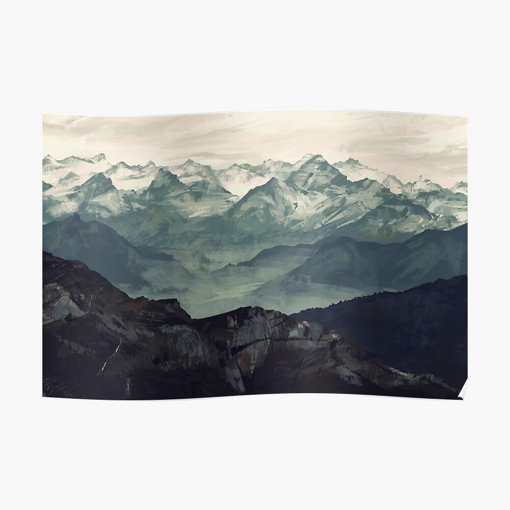 Berg Nebel Poster