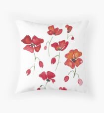 Swedish Poppies Throw Pillow