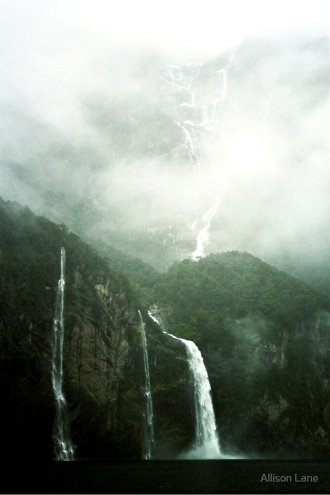 Waterfalls Milford Sound, New Zealand by Allison Lane