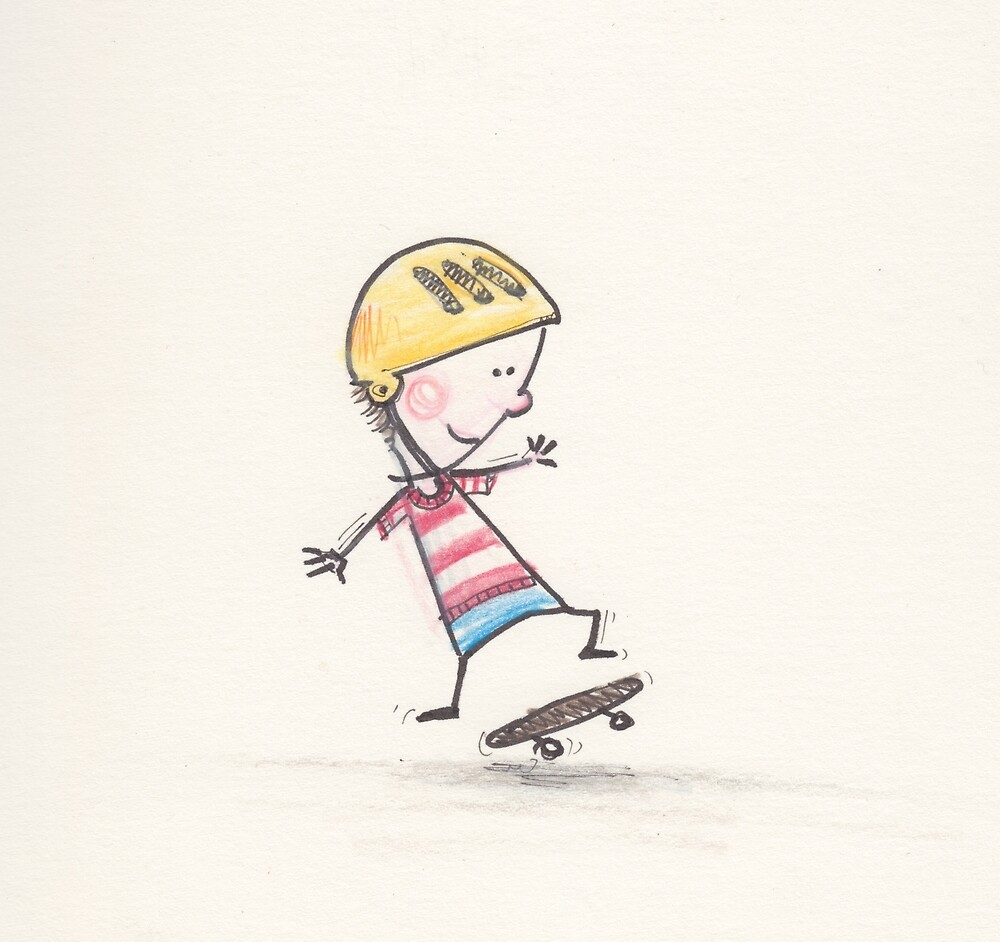 Boy tries his first skateboard trick by 15mindrawings