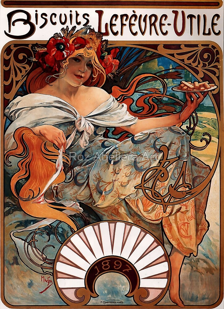 'Biscuits Lefevre-Utile' by Alphonse Mucha (Reproduction) by Roz Abellera