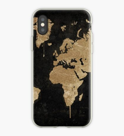 Gold World Map iPhone Case