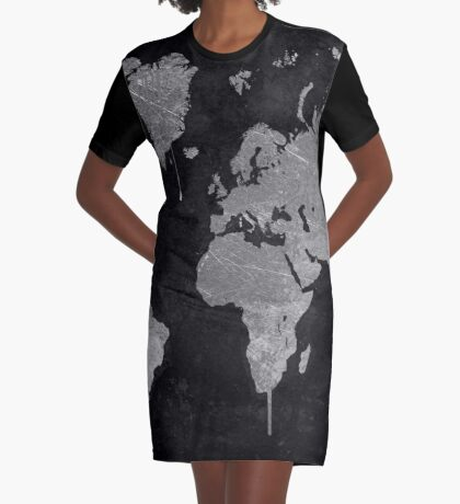 Silver and Black World Map Graphic T-Shirt Dress
