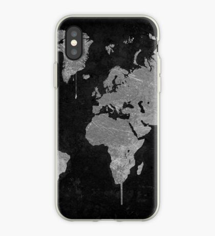 Silver and Black World Map iPhone Case
