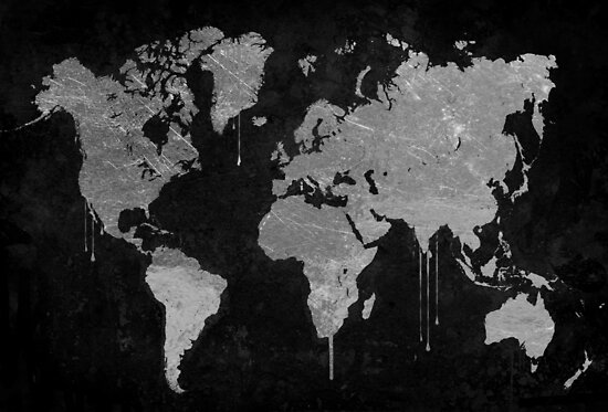 Silver and Black World Map by mindydidit