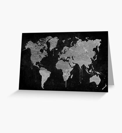 Silver and Black World Map Greeting Card
